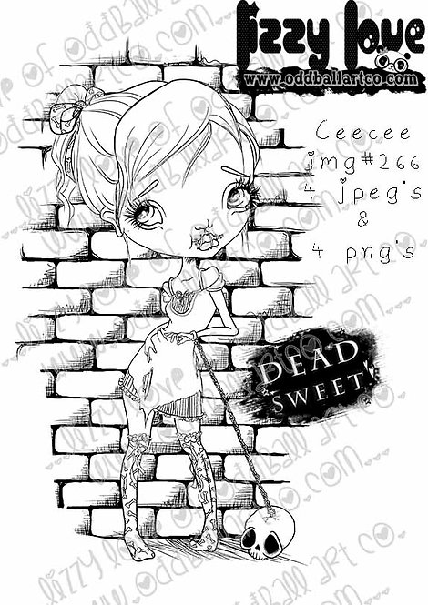 Digital Stamp Creepy Cute Girl in Chains Ceecee Image No. 266