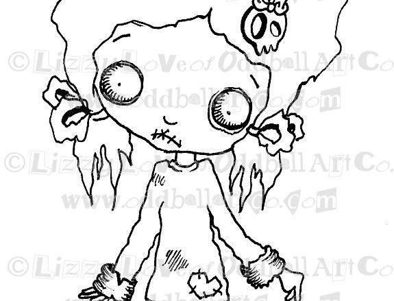 Digital Stamp Creepy Cute Big Eye Zombie Chibi Girl Image No. 53