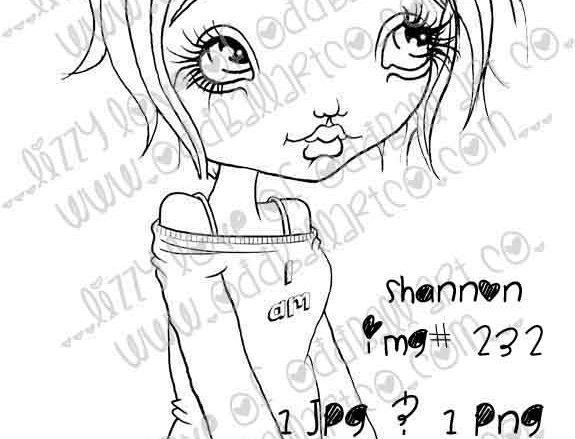Digital Stamp Kawaii Big Eye Girl Shannon Image No. 232