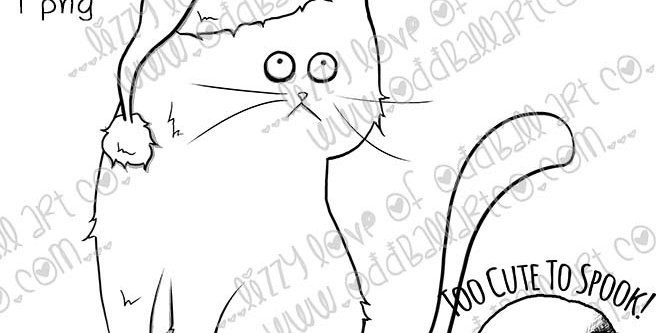 Digi Stamp Cute Whimsical Christmas Cat Scrooges Kitty Image No. 491
