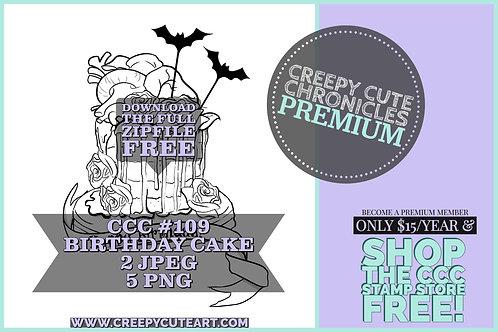 CCC# 109 BIRTHDAY CAKE DIGI STAMP Creepy Cute Chronicle