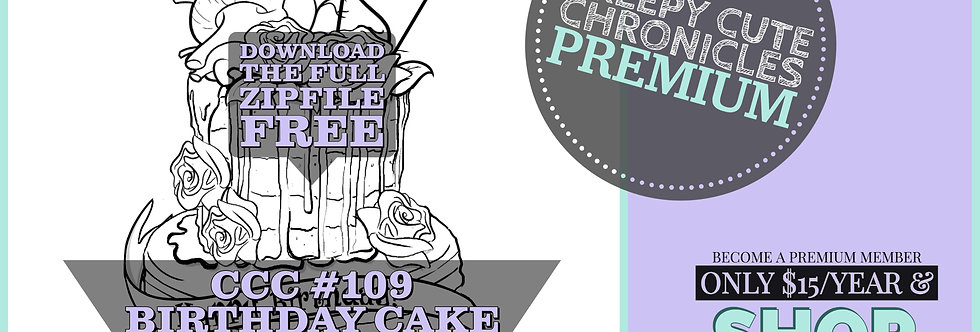 CCC# 109 BIRTHDAY CAKE DIGI STAMP Creepy Cute Chronicle