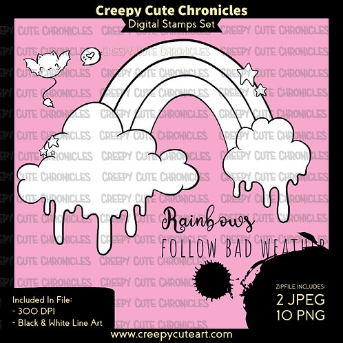 CCC# 148 RAINBOWS DIGI STAMP Creepy Cute Chronicles