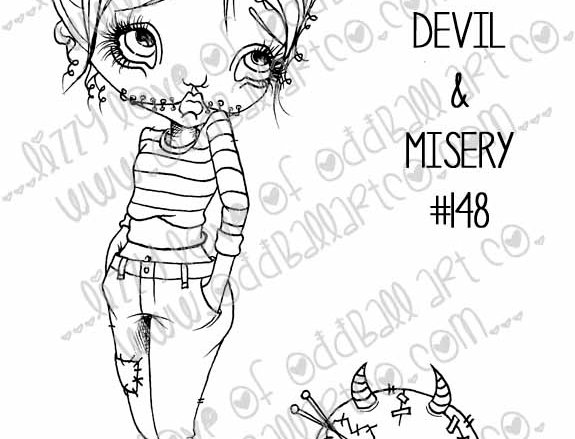 Digital Stamp Girl & Her Pet Voodoo Doll Spookette & Lil Devil Image No 148