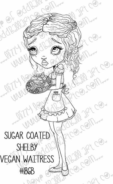 Digital Stamp Big Eye Vegan Waitress Girl Sugar Coated Shelby Image No. 186