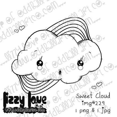 Digital Stamp One Dollar Sweet Kawaii Cloud Rainbow Image No. 229