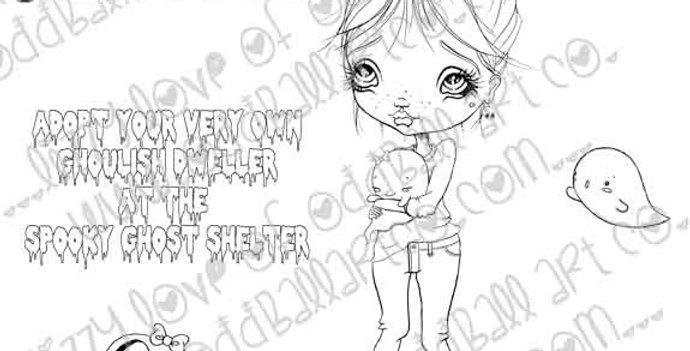 Digital Stamp Creepy Cute Kawaii Adoption Kylie & Friends Image No. 239