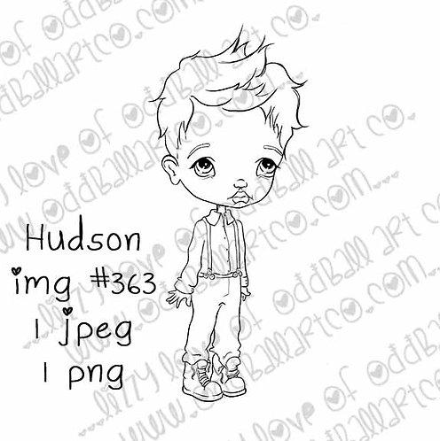 Digital Stamp Cute Big Eye Boy Hudson Image No.363