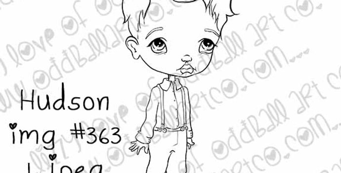 Digital Stamp Cute Big Eye Boy Hudson Image No.363
