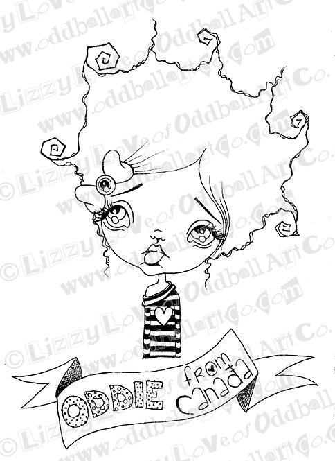 Digi Stamp Creepy Cute Canadian Oddball Girl with Banners Image 99