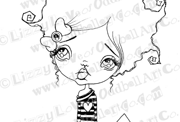 Digi Stamp Creepy Cute Canadian Oddball Girl with Banners Image 99