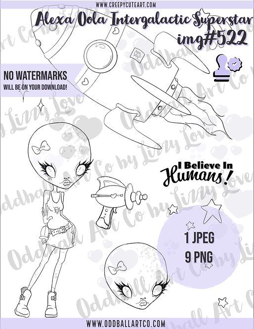 Digi Stamp Alexa Oola Intergalactic Superstar Image 522