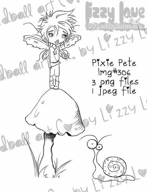 Digital Stamp Cute Big Eye Boy Fairy Mushroom & Snail Pixie Pete Image No. 306