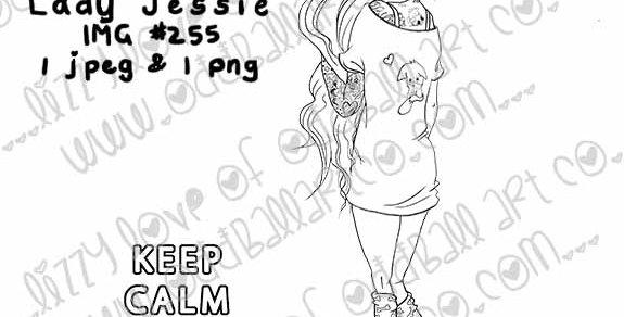 Digital Stamp Whimsical Tattooed Girl Lady Jesse Image 255