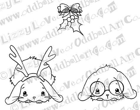 Printable Stamp Christmas Bunnies Under the Mistletoe Download Image No 139