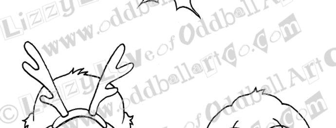 Printable Stamp Christmas Bunnies Under the Mistletoe Download Image No 139