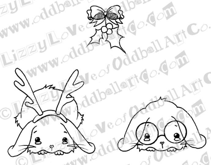 photo regarding Printable Mistletoe referred to as Printable Stamp Xmas Bunnies Less than the Mistletoe Obtain Picture No 139