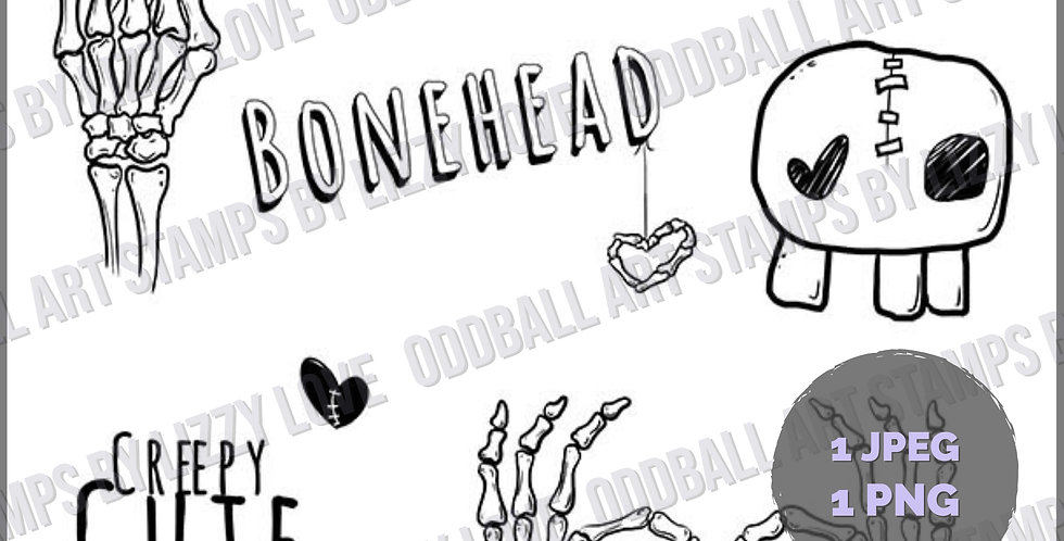 Digi Stamp Creepy Cute Doodle Sheet Bonehead Image# 510