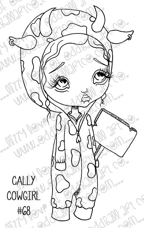 Digital Stamp Big Eye Animal Advocate w/ Sign Cally Cow Girl Image No. 68