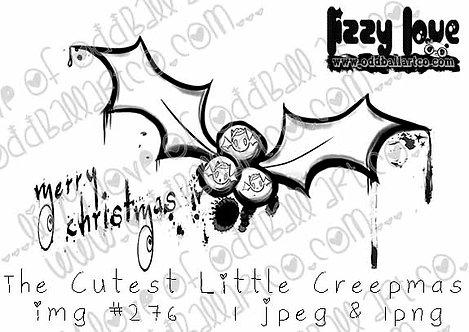 Digital Stamp Kawaii Creepy Cute Christmas Bat The Cutest Little Creepmas No.276