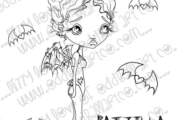 Digital Stamp Creepy Cute Big Eye Bat Fairy Batzilla Image No. 185