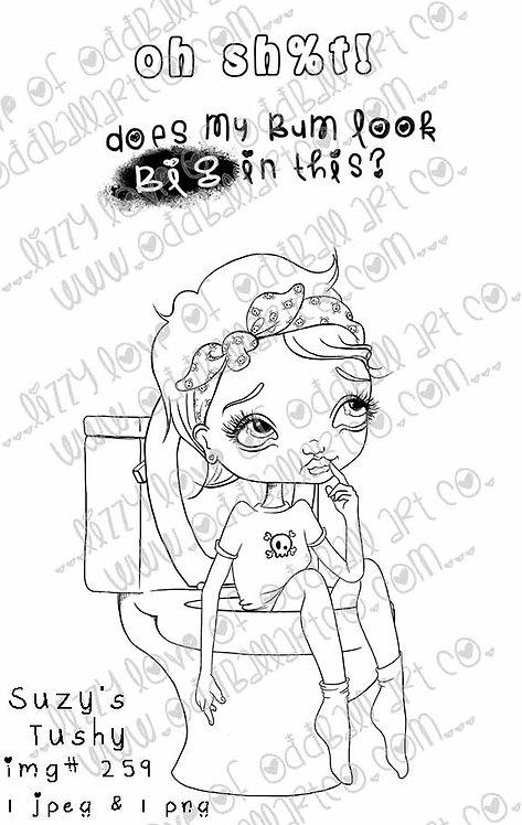 Digital Stamp Cute Big Eye Girl Stuck in Toilet Suzy's Tushy Image No. 259