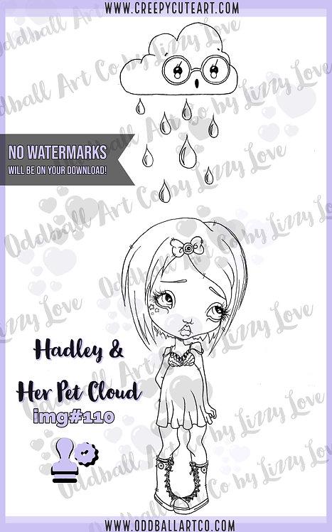 Digi Stamp Creepy Cute Big Eye Girl Hadley & Her Pet Cloud Img# 110