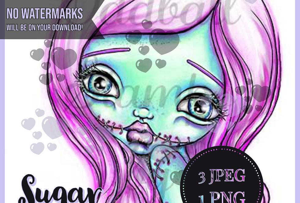 Digi Stamp PRE-COLORED Sugar the Zombie Includes B&W Line Art Plus Cute Girl