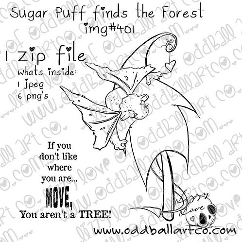 Digital Stamp Baby Dragon Girl Sugar Puff Finds the Forest ~ Image No.401