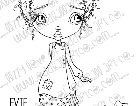 Digital Stamp Big Eye Easter Girl Eve & Bunni Image No. 30