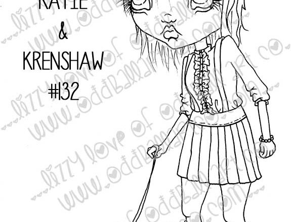 Printable Stamp Creepy Cute Girl & Her Undead Caterpillar Download Image No 132