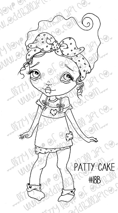 Digital Printable Stamp Cute Big Eye Girl Patty Cake Image No. 18