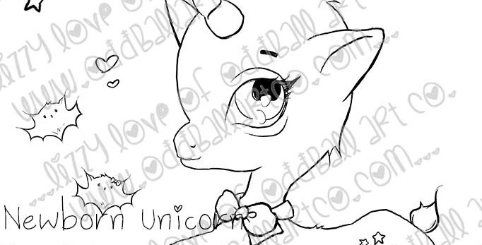 Digital Stamp Cute & Whimsical Scene ~ Newborn Unicorn Image No. 425