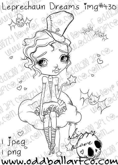 Digital Stamp Whimsical Big Eye Art ~ Leprechaun Dreams Image No. 430