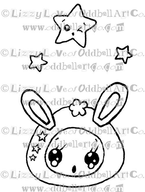 Digi Stamp Kawaii Creature with Stars Cute Bunny Image 96
