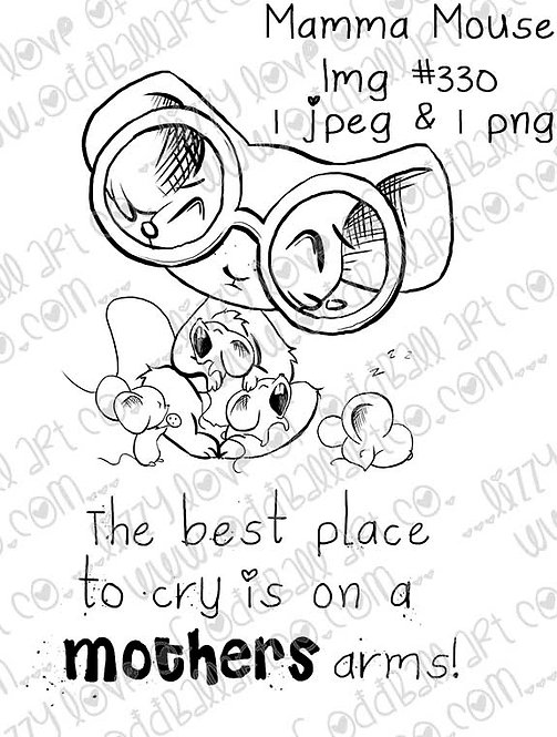 Digital Stamp Mother Mouse & Crying Babies Stamp Mamma Mouse Image No. 330