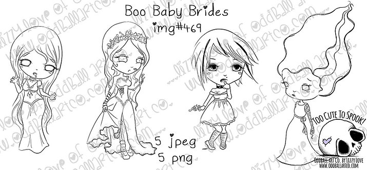 Digi Stamp Boo Baby Brides Set of 4 Creepy Cute Horror Girls Image No 469