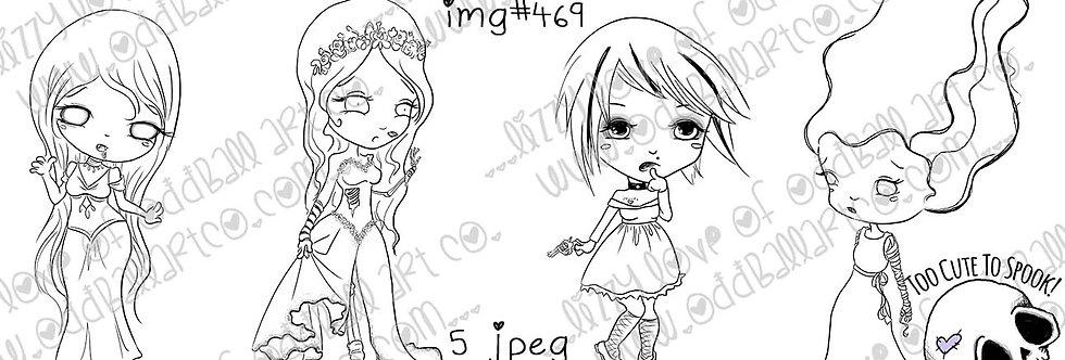 Digi Stamp Boo Baby Brides Set of 4 Creepy Cute Horror Girls Image No 469