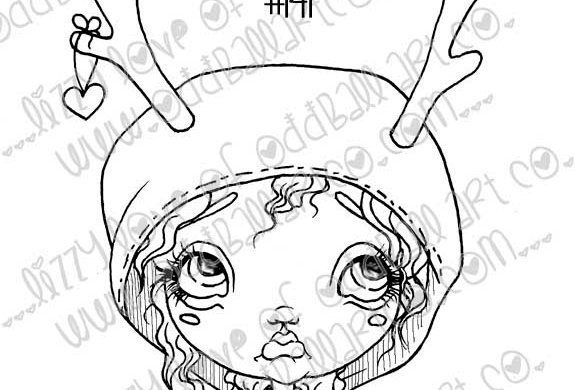 Printable Stamp Cute Christmas Deedee Deer Girl Digital Download Image No 141