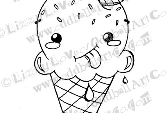 Digital Stamp Cute Whimsical Kawaii Ice Cream Cone Image No. 144