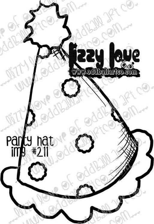Digital Stamp Cute Whimsical Polka Dot Birthday Hat Image No. 211