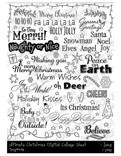 Digi Stamp Ultimate Christmas Digital Collage Sheet Only A Dollar Image # 498