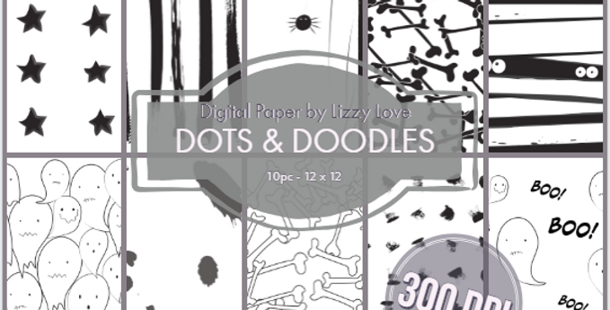 CCC# 6 DOTS AND DOODLES DIGI PAPER FULL SET Creepy Cute Chronicles