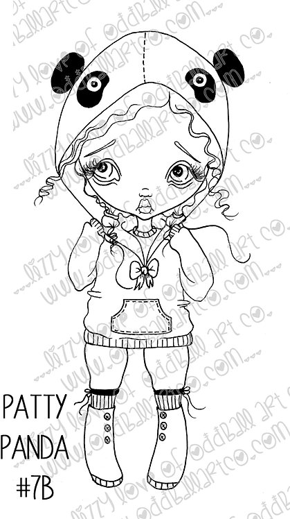 Digital Download Printable Stamp Big Eye Panda Girl Patty Panda Image No. 7