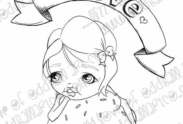 Digital Stamp Big Eye Girl & Cupcake Leni Image No.366