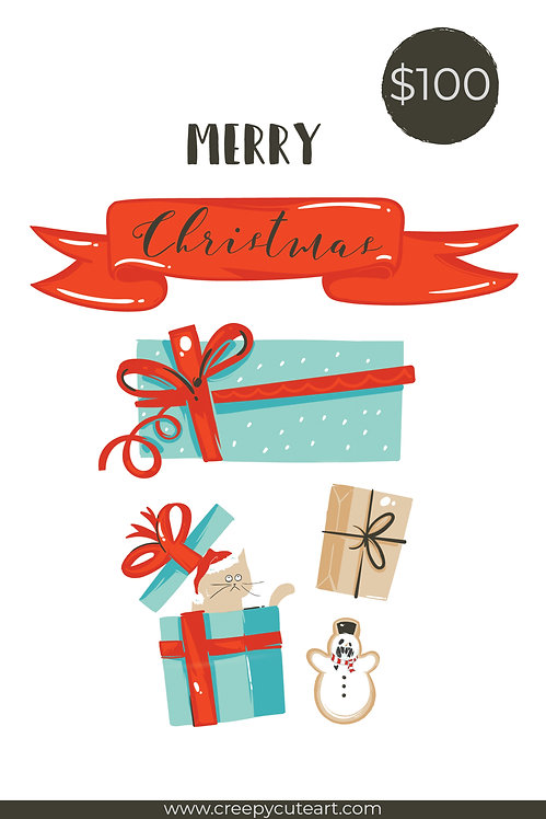 $100 Christmas Gift Card Oddball Art Digital Stamps