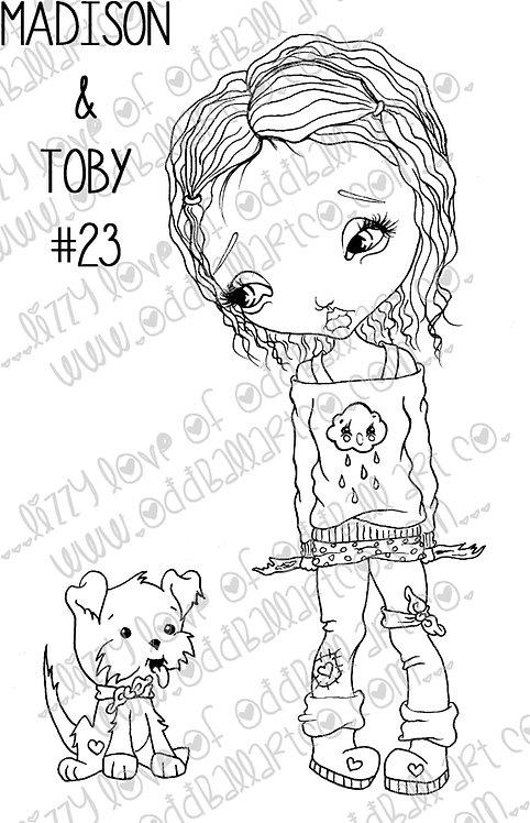 Digital Stamp Big Eye Girl Playing w/ Dog Madison & Toby  Image No. 23
