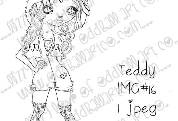 Digital Printable Stamp Big Eye Girl In Monster Hood Teddy Image No.16
