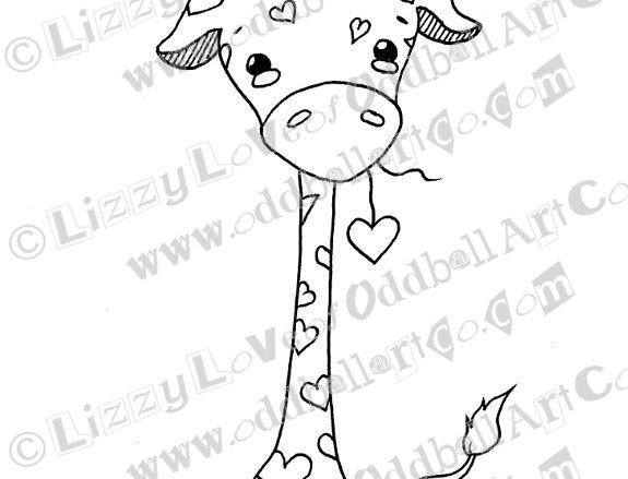 Printable Stamp Kawaii Valentine Giraffe Cutelyn Download Image No 136