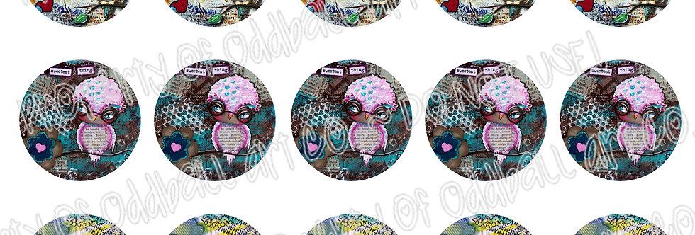 Bottlecap Images Digital Collage Sheet 1 Inch Circles ~ Owl Set 2